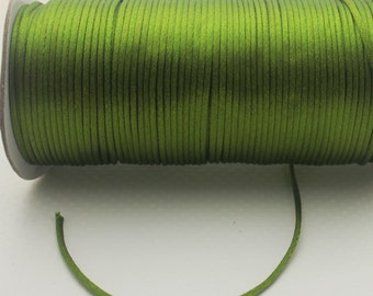 10 yards 2mm  Olive Green Satin Rattail  Kumihimo Cord
