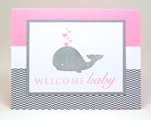 welcome baby card - baby whale card - pink and gray baby card - baby girl card