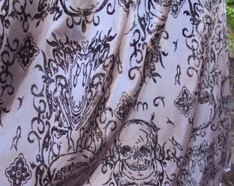 Beautiful charcole grey capelet with Glitter skulls --most interesting fabric  Great Halloween capelet