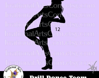 Drill Dance Team Silhouettes Pose 12 - 1 EPS & SVG Vinyl Ready files and 1 PNG Digital File and Small Commercial license