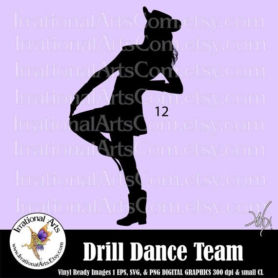 drill dance team silhouettes pose 12 1 eps amp svg vinyl ready