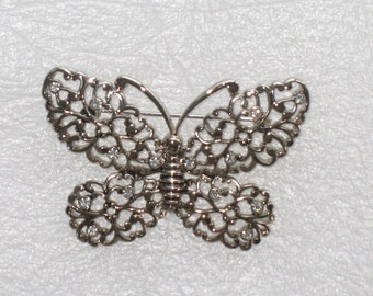 Silver Metal Butterfly Brooch Pin with Crystals