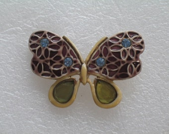 Beautiful Stain Glass  Looking Butterfly Brooch Pin