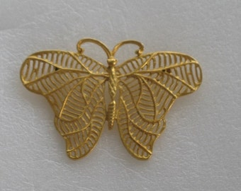 Beautiful Large Gold Butterfly Brooch Pin