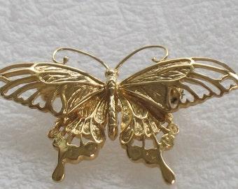 Beautiful Gold Metal Butterfly Brooch Pin