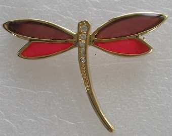 Purple and Pink Winged Dragonfly Brooch Pin