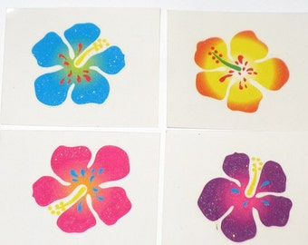 Tropical Hibiscus Flower Temporary Tattoos Set of 4