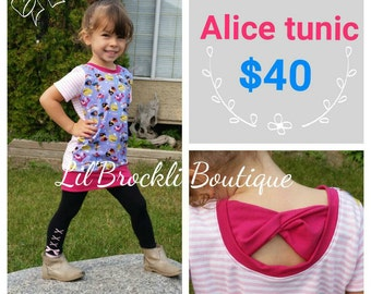 Alice wonderland girls bow back tunic