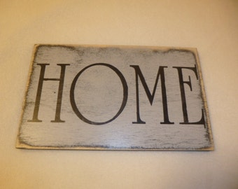 WOOD HOME SIGN / shabby home sign / distressed home sign / rustic home sign / wall home sign / cottage home sign / hand painted sign / home