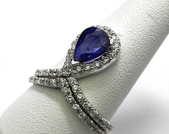 AAA Blue Sapphire  10x8mm  1.42 Carats Natural Gemstone 14K White gold diamond (.70 Carat TW.) Bridal set. 2359
