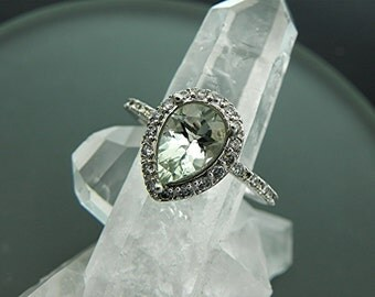 AAAA Natural Green Amethyst Pear shape 14K White gold engagement ring with .26 -30cts of diamonds. B107