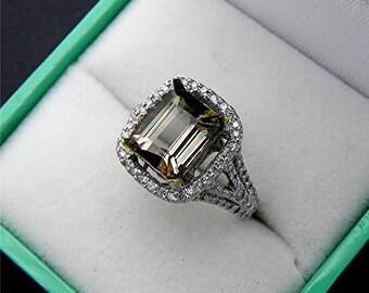 AAAA Bi Color Watermelon Tourmaline Emerald Cut   9x7mm  2.43 Carats   14K White gold Diamond halo Engagement ring 1362