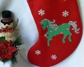 Personalized Christmas Stocking|Horse Christmas Stocking|Traditional Red Felt Christmas Stocking|Kids Christmas Stocking|Christmas Decor|