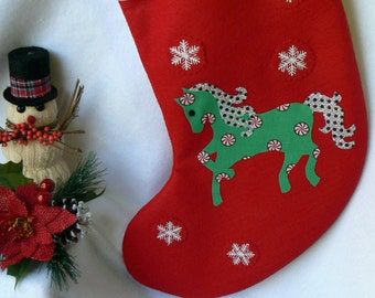 Personalized Christmas Stocking|Horse Christmas Stocking|Traditional Red Felt Christmas Stocking|Kids Christmas Stocking|Christmas Decor|