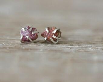 Raw  Pink Sapphire Studs