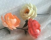 Crepe Paper Flower - Coral Charm Peony - Handmade