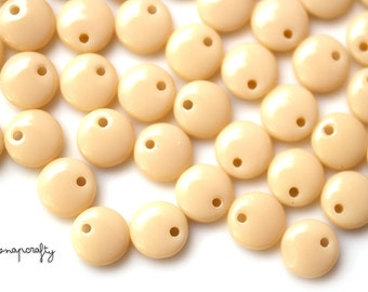 50pc beige glass lentil bead  / 6mm top drilled round glass beads / czech glass bead / single hole ivory lentil bead