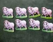 Vintage Dennison Sheep Stickers, Set of 8