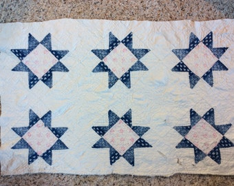 VINTAGE QUILT PIECES, star blocks, indigo, pink, 2 available, 27 x 17' craft, late 1800 s,