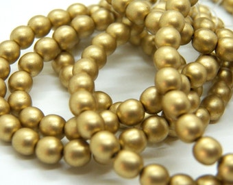 Opaque Matte Gold 6mm Pressed Glass Czech Round Beads (50)