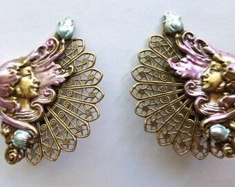 Vintage Art Nouveau Earrings - Brass and Enamel - Ladies Head with Flowing Pink Hair and filigree (1 pair)