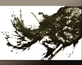 Abstract Canvas Art Painting Canvas 36x24 Original Black & White Contemporary Paintings by Destiny Womack - dWo -  Hypnotic