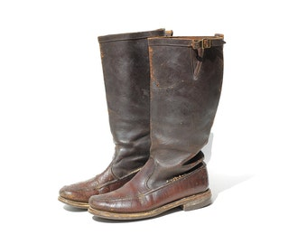 Vinatge Women's Distressed Boots / Brown Leather Boots / size 10