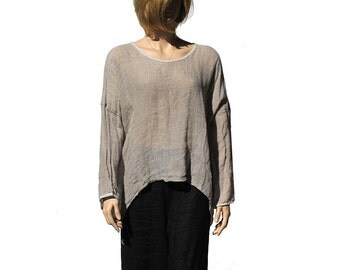 Studio Taupe Delicate linen Top / Boxy Top / Extra Wide Top