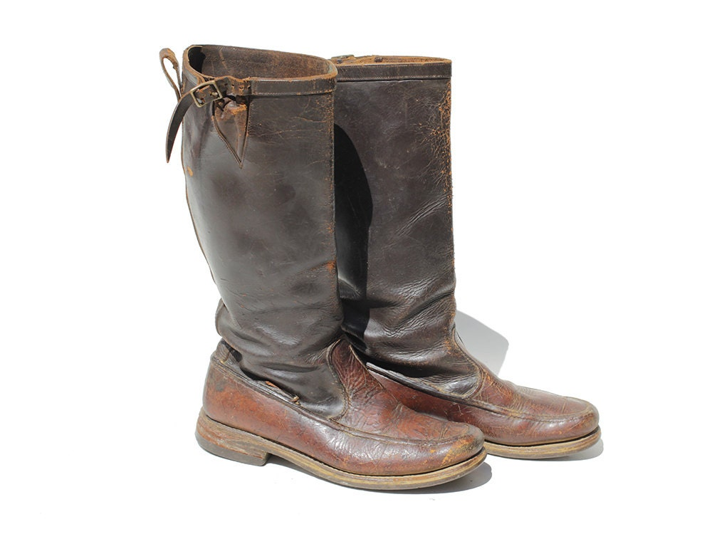 vinatge s distressed boots brown leather boots