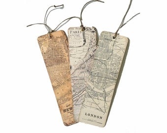 Set of Three Map Bookmarks, Paris Bookmark, London Bookmark, New York Bookmark, Wedding Party Favor, Travel Bookmark, Book Club Favor