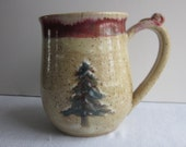 Vintage Look 15 0z Mug with Thumb Rest Wheel Thrown Stoneware Pottery