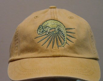 CHAMELEON LIZARD REPTILE Hat - One Embroidered Wildlife Cap - Price Embroidery Apparel - 24 Color Caps Available