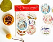 Set of 14 Art Stickers, Thank You Seals, Postcrossing Stickers, Snail Mail, Fairy Stickers - Beauties in Disguise Series