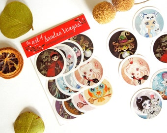 Art Sticker Pack #1, Set of 12 Stickers Labels Snail-Mail Postcrossing Seals by Sandra Vargas