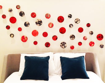 Wood Wall Art | Original Abstract Art | Painted Circle Wood Wall Sculpture | Red Wall Art | Rosemary Pierce Modern Art
