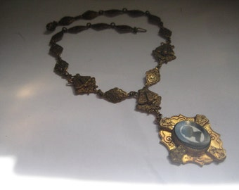 Victorian  Black and White Silhouette Necklace in Brass