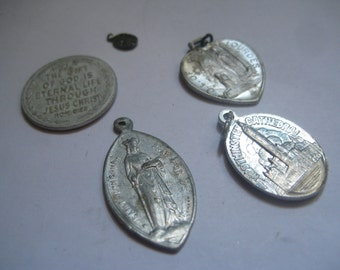 Vintage Religious Medals 4 in Aluminum and ONE in Silver
