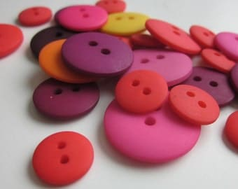 24 Mixed Plain Red Yellow Purple Buttons
