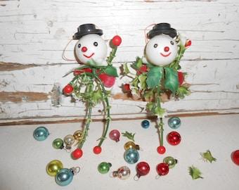 Vintage Christmas Snowman Ornaments, Vintage Plastic Snowman