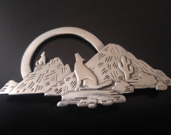 Southwestern Coyote and Cactus Silver Pewter JONETTE JEWELRY Pin