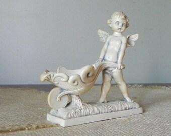 Vintage Fontanini Figurine, Depose, Cherub Angel Push Wheel barrel Trinket Dish Anniversary Wedding Gift Made in Italy FRE SHIP spider mark