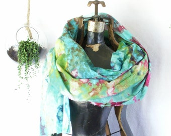 Aqua Chartreuse Pink and Purple Hand Dyed Pareo Wrap Scarf 30x72 Cotton Voile Ice Dyed Lalique-Tiffany Pareo1