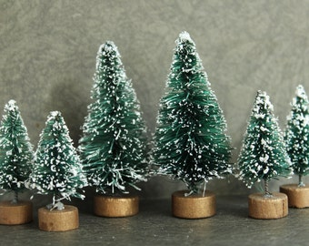 Tiny Set Bottle Brush Trees - Set of 6 Miniature Frosted Evergreen Sisal Trees - Vintage Style Christmas Trees