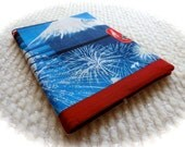 Mt. Fuji and Fireworks Fabric Covered B6 Retro Notebook