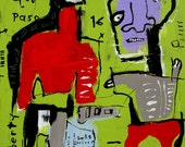 original HUGHART abstract outsider folk 30x30 inch painting - NO INSTRUMENTS