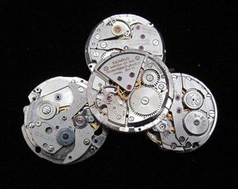 Steampunk Watch Movements Vintage Antique Round Altered Art Assemblage TM 56