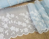 """Vintage Fabric Trim Sheer Nylon Flocked Notions Trim Five Yards 6"""" Inches Wide Blue White Lace Lingerie Trim NOS New Old Stock Unused"""