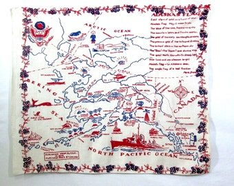 Vintage Tablecloth Alaska State Map Souvenir Mid Century Retro Table Linens Printed Table Cloth Antique Textiles 1930's 1940's 1950's
