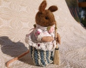 Mouse, Needle Felted Wool, Soft Sculpture, Beatrix Potter Inspired Felted Animal, Woodland felted mouse, Mrs. Tittlemouse Reay to Ship