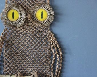 Macrame & Ceramic Hanging Owl Weaving